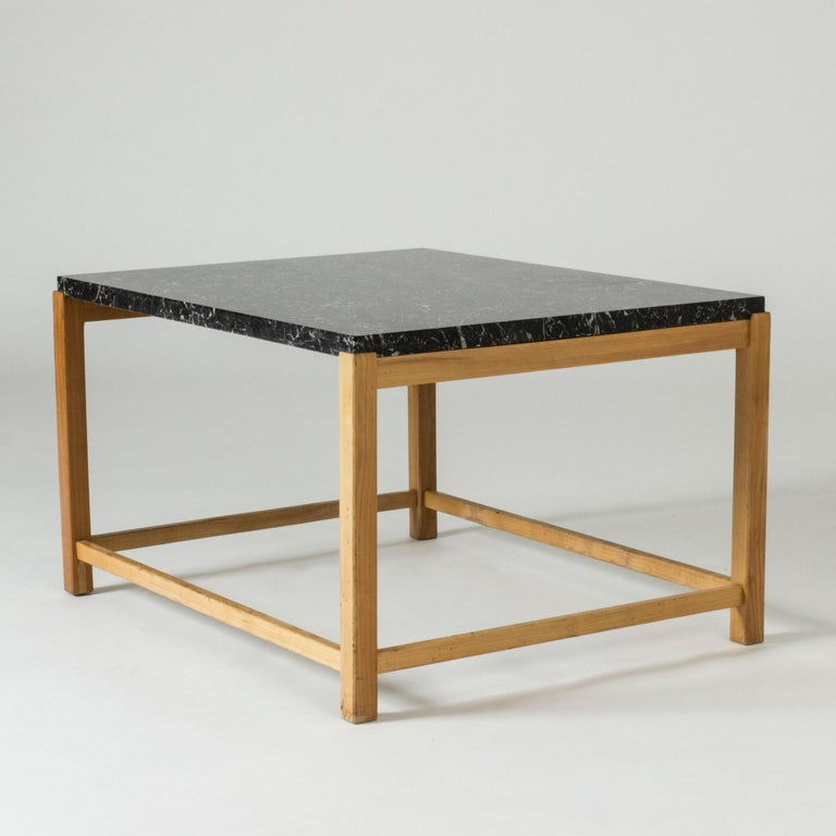 Marble-Top Coffee Table by Carl-Axel Acking for Torsten Schollin, Sweden, 1950s In Good Condition For Sale In Stockholm, SE