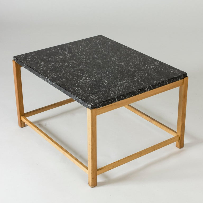 Mid-20th Century Marble-Top Coffee Table by Carl-Axel Acking for Torsten Schollin, Sweden, 1950s For Sale