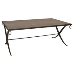 Marble Top Coffee Table Iron Base by Barbara Barry for Baker Furniture