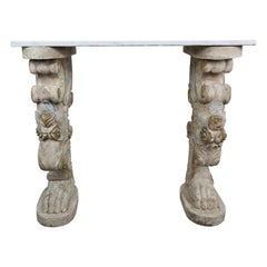 Marble-Top Console on Carved Pedestals, circa 1900
