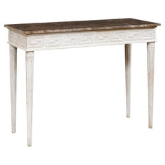 Marble Top Console Table with Greek Key Motif Carved Skirt on All Sides