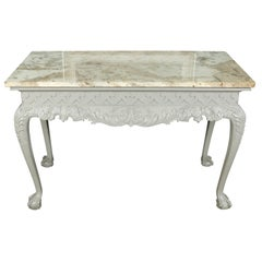 Marble Top Console with Ornate Painted Base