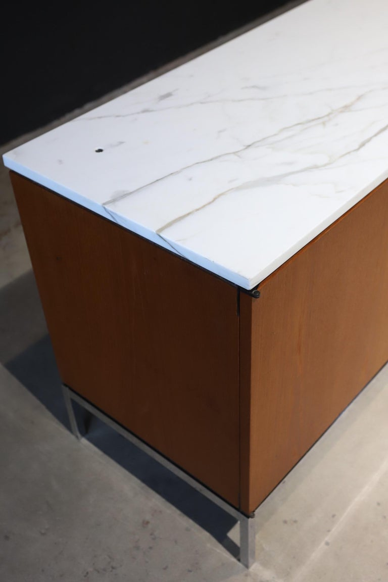 Steel Marble-Top Credenza by Florence Knoll For Sale