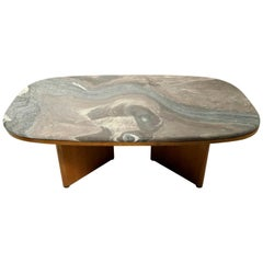 Marble-Top Danish Modern Coffee Table by Bendixon Made in Sweden