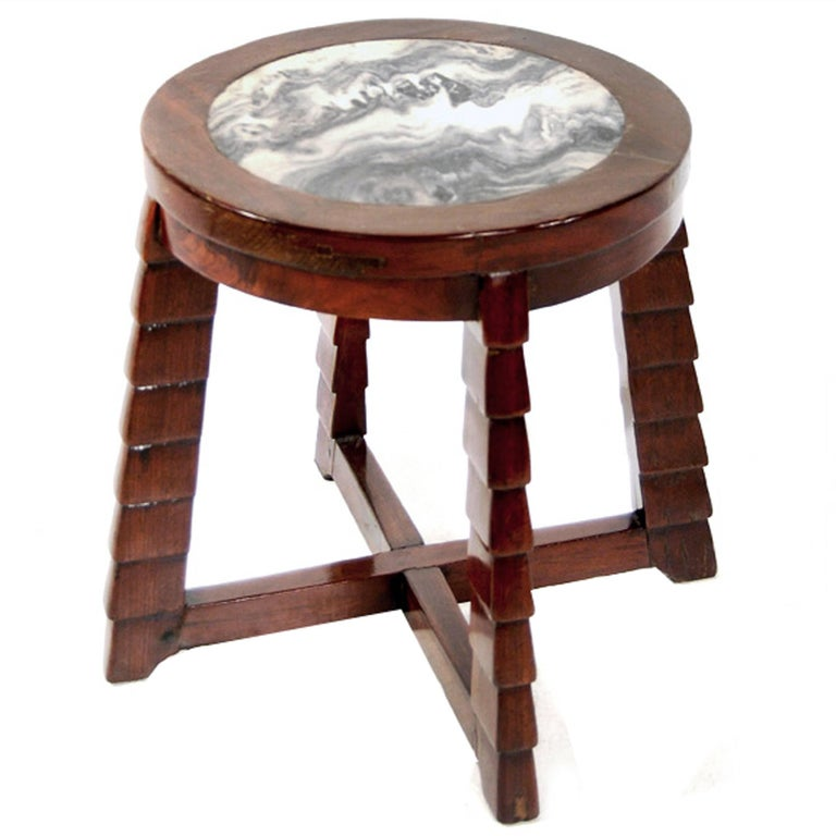 Marble-Top Deco Low Table For Sale