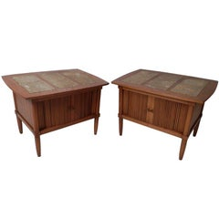 Marble Top End Tables w/ Tambour Doors