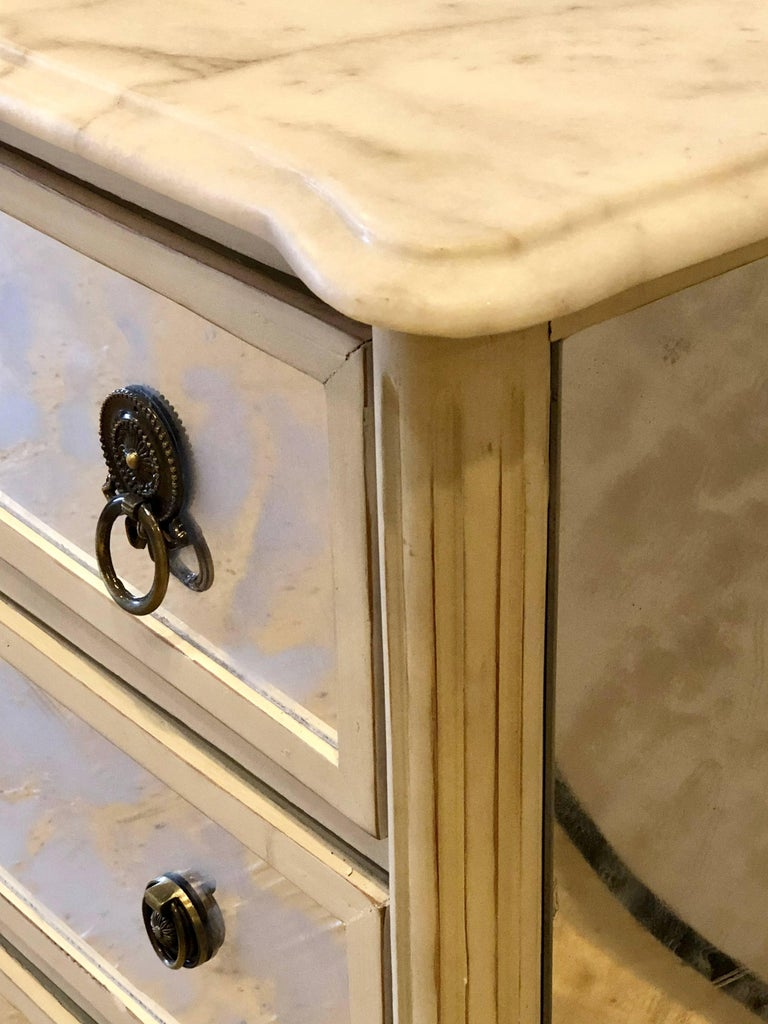 Marble-Top Hollywood Regency Decorated Commode Nightstand in Manner of Jansen For Sale 2