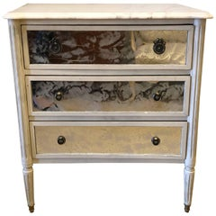 Marble-Top Hollywood Regency Decorated Commode Nightstand in Manner of Jansen