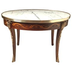 Marble Top Inlaid French Style Table with Bronze Mounts, Made in Italy, C. 1900