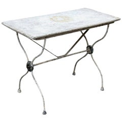 Marble-Top Iron Garden Table