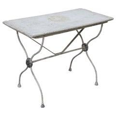 Marble-Top Iron Garden Table