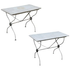 Marble-Top Iron Garden Tables