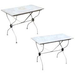 Marble-Top Iron Garden Tables