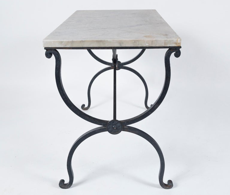 Marble Top Iron Table, France, Early 20th Century For Sale 5