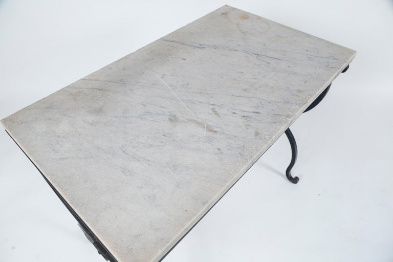 French Provincial Marble Top Iron Table, France, Early 20th Century For Sale