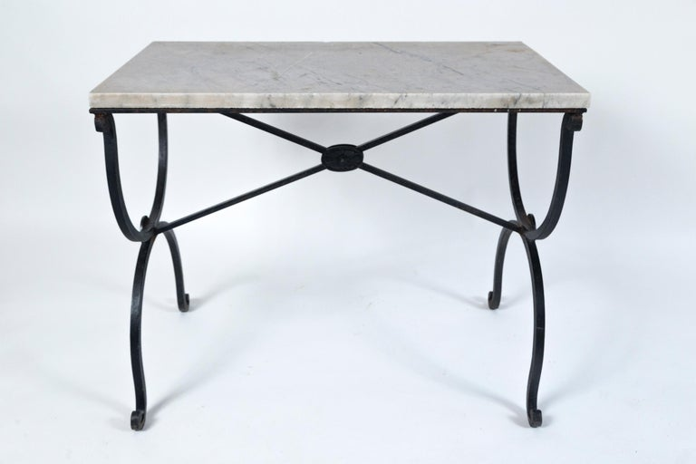 French Marble Top Iron Table, France, Early 20th Century For Sale