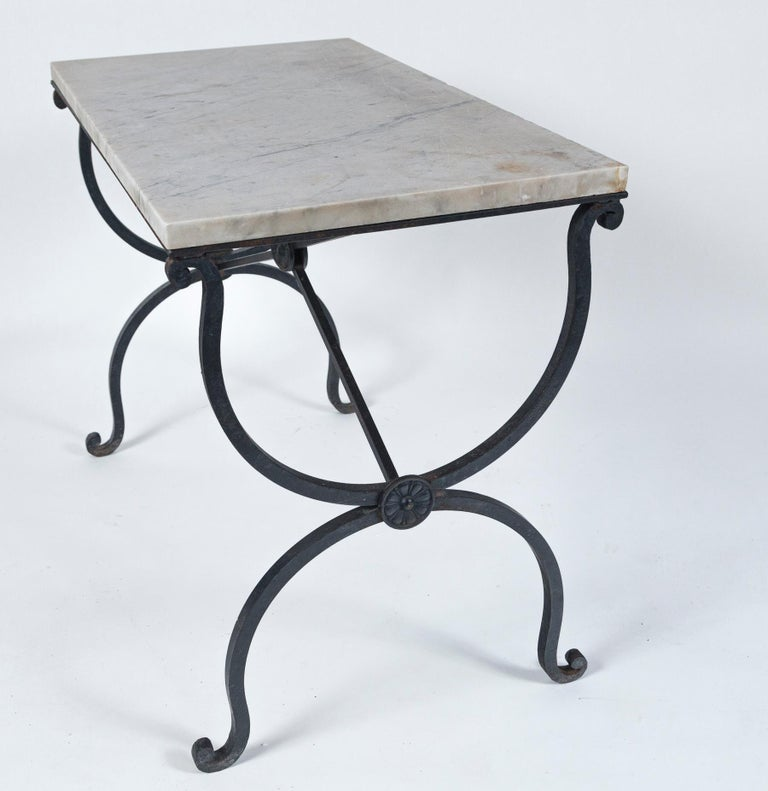 Marble Top Iron Table, France, Early 20th Century For Sale 2