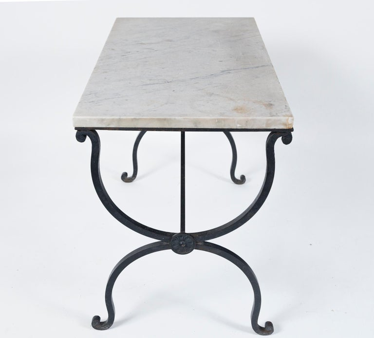 Marble Top Iron Table, France, Early 20th Century For Sale 4