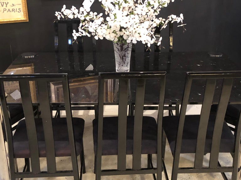 Marble-Top Italian M.E.A Dining or Conference Table, Made in Italy For Sale 1