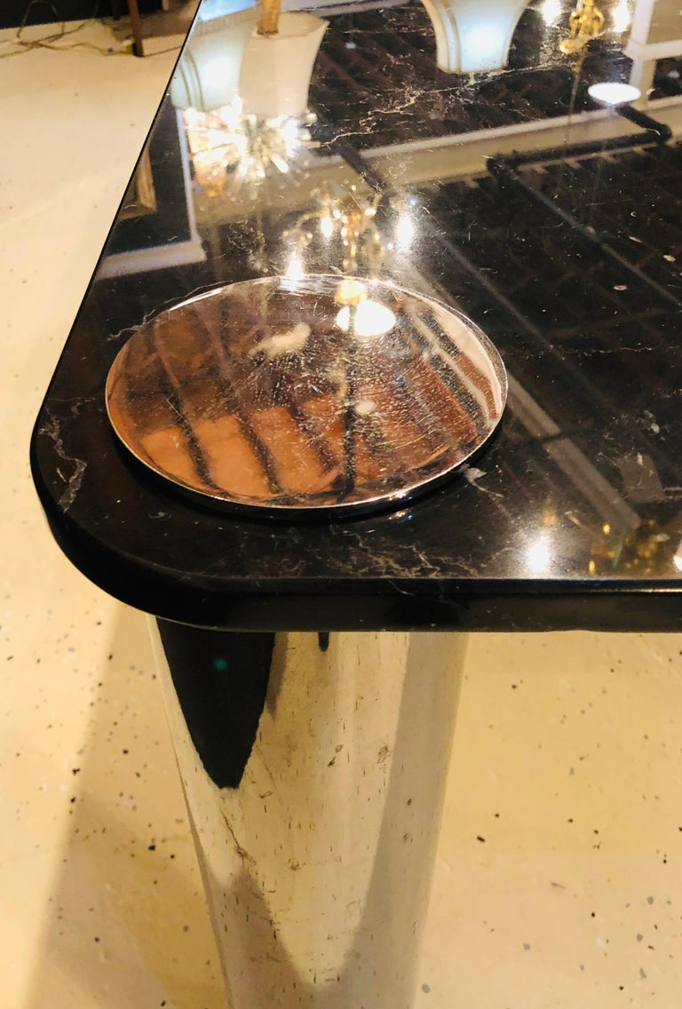 Marble-Top Italian M.E.A Dining or Conference Table, Made in Italy For Sale 3
