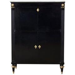 Marble-Top Maison Jansen Neoclassical Ebonized Dry Bar Cabinet