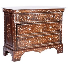 Marble Top Moorish Chest of Drawers with Inlaid Mother of Pearl