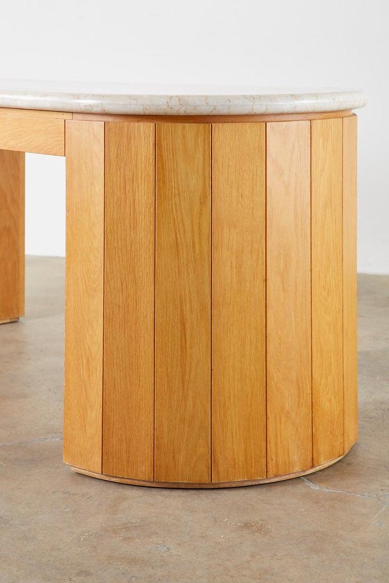 Marble-Top Oak Executive Pedestal Desk with Demilune Ends For Sale 3