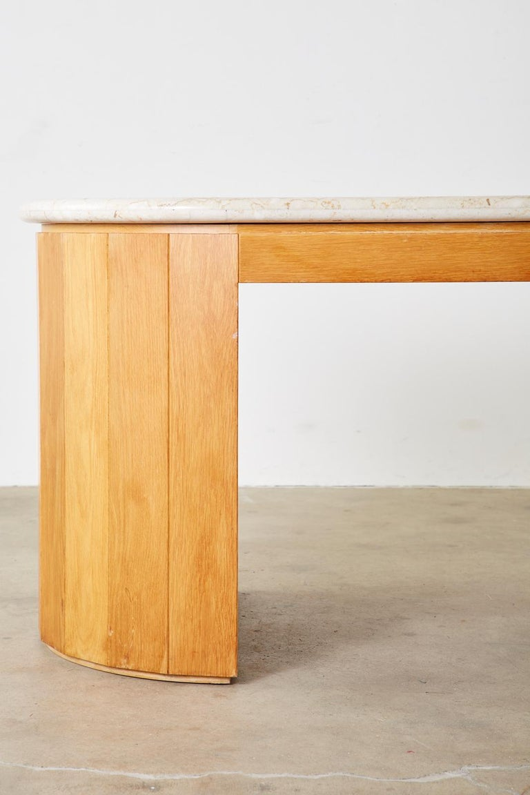 Marble-Top Oak Executive Pedestal Desk with Demilune Ends For Sale 4