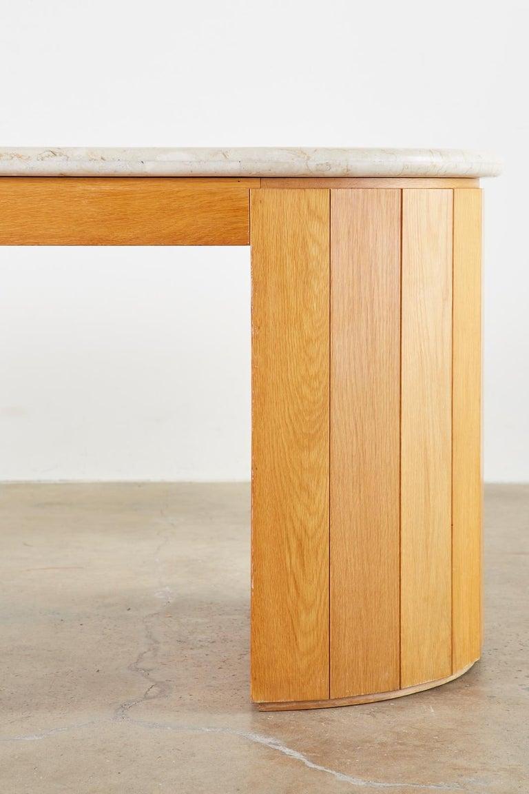 Marble-Top Oak Executive Pedestal Desk with Demilune Ends For Sale 5