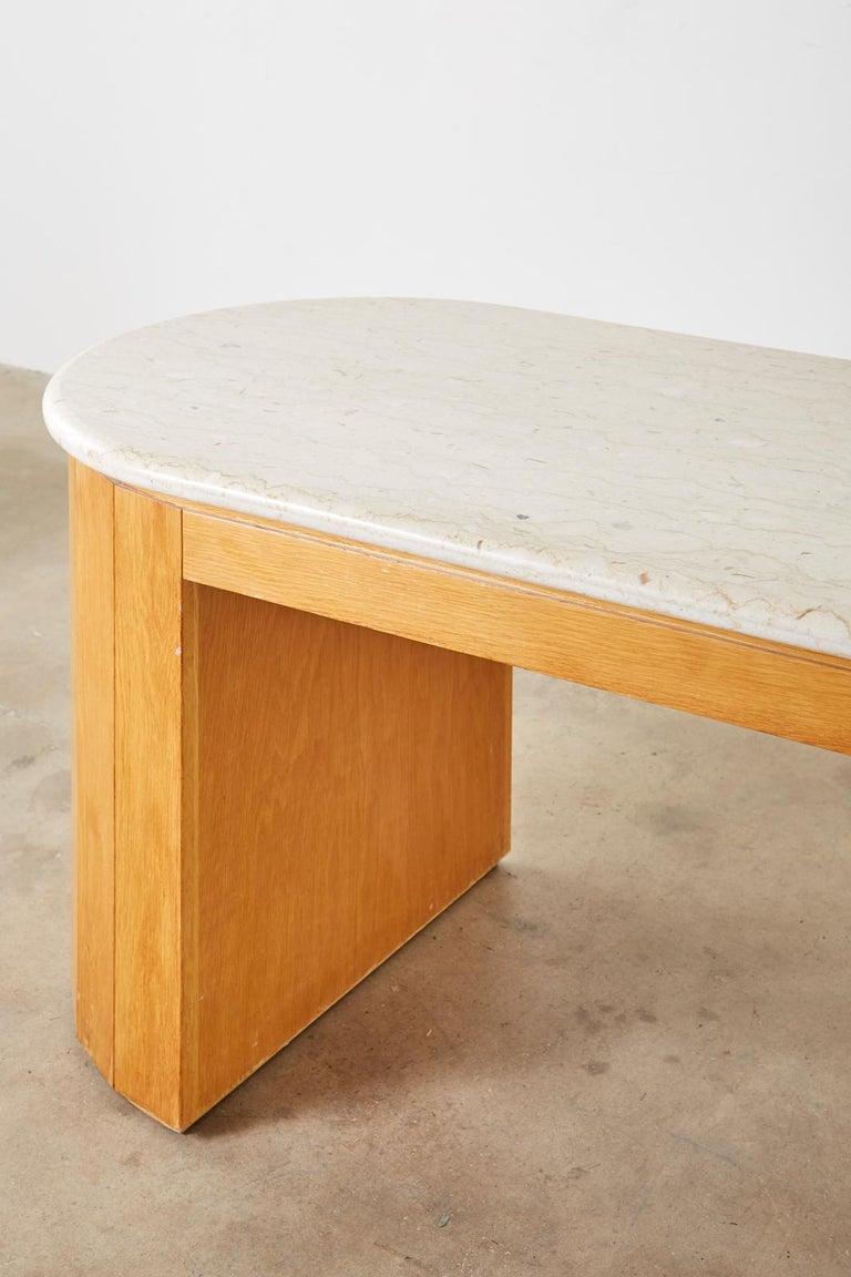Marble-Top Oak Executive Pedestal Desk with Demilune Ends For Sale 6