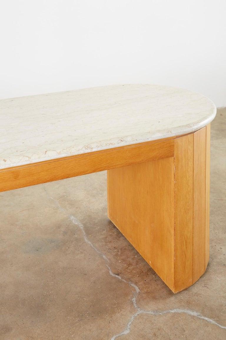 Marble-Top Oak Executive Pedestal Desk with Demilune Ends For Sale 7
