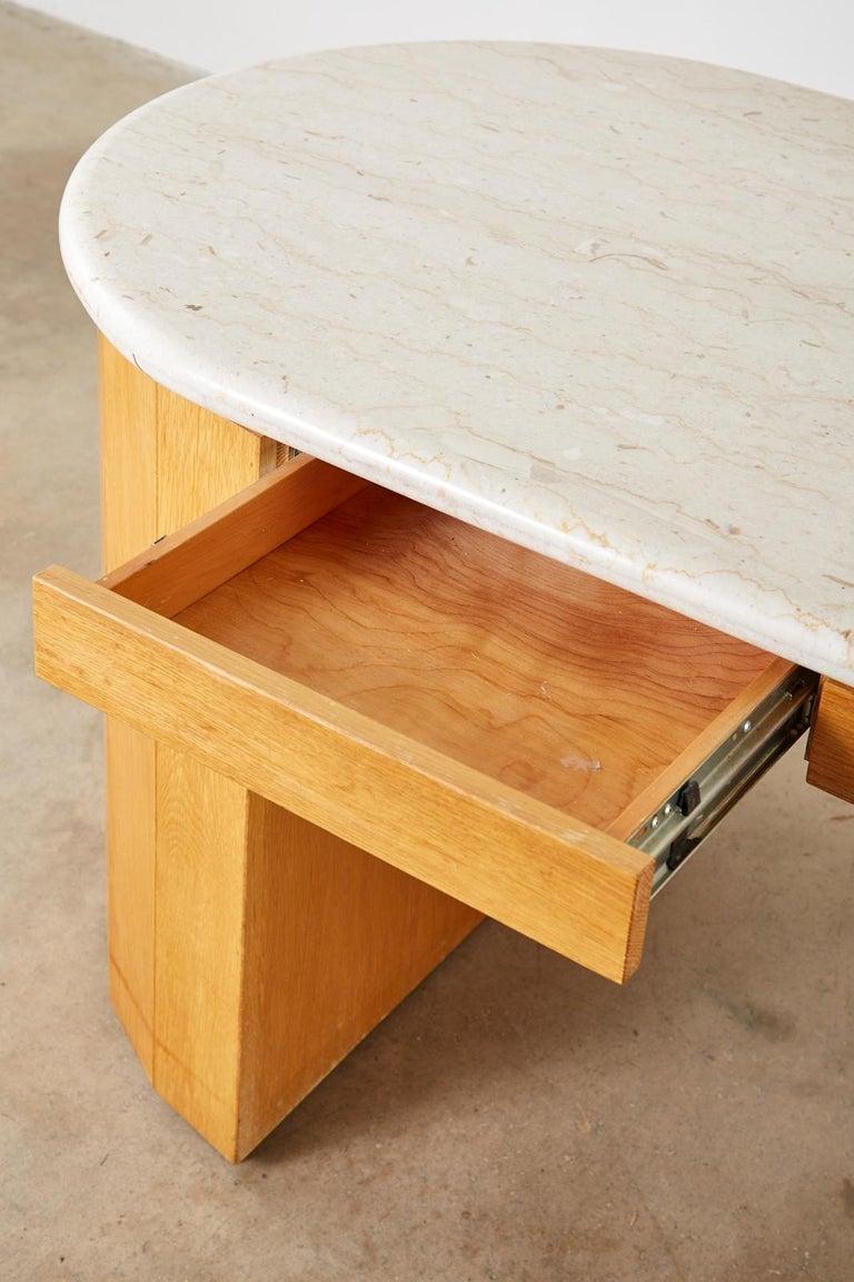 Marble-Top Oak Executive Pedestal Desk with Demilune Ends For Sale 10