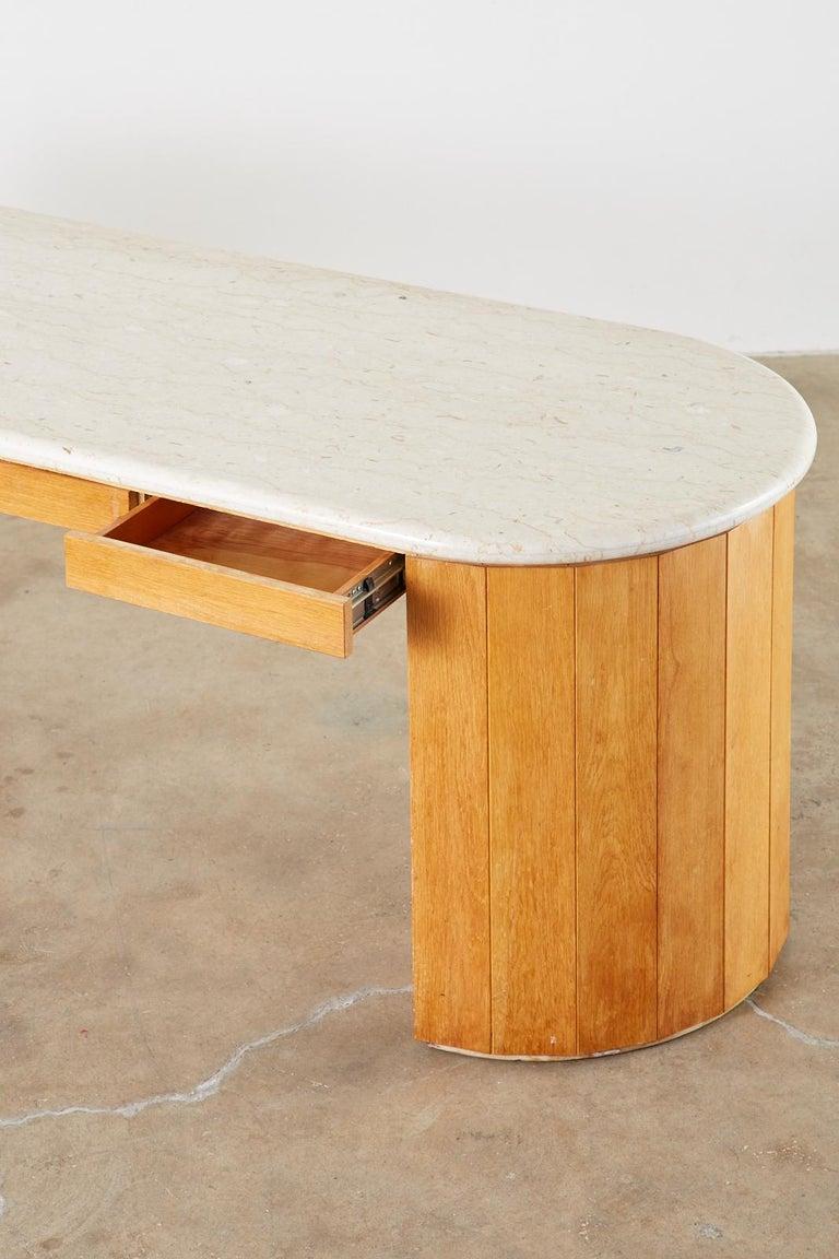 Marble-Top Oak Executive Pedestal Desk with Demilune Ends For Sale 11