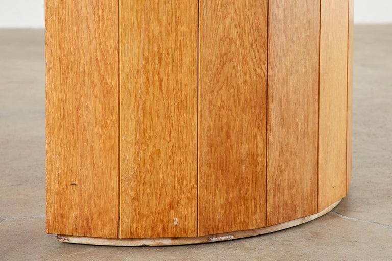 Marble-Top Oak Executive Pedestal Desk with Demilune Ends For Sale 12