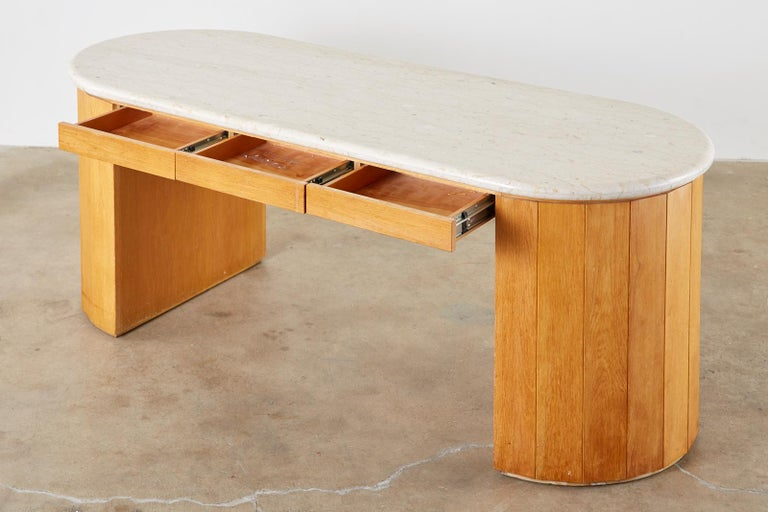 Mid-Century Modern Marble-Top Oak Executive Pedestal Desk with Demilune Ends For Sale