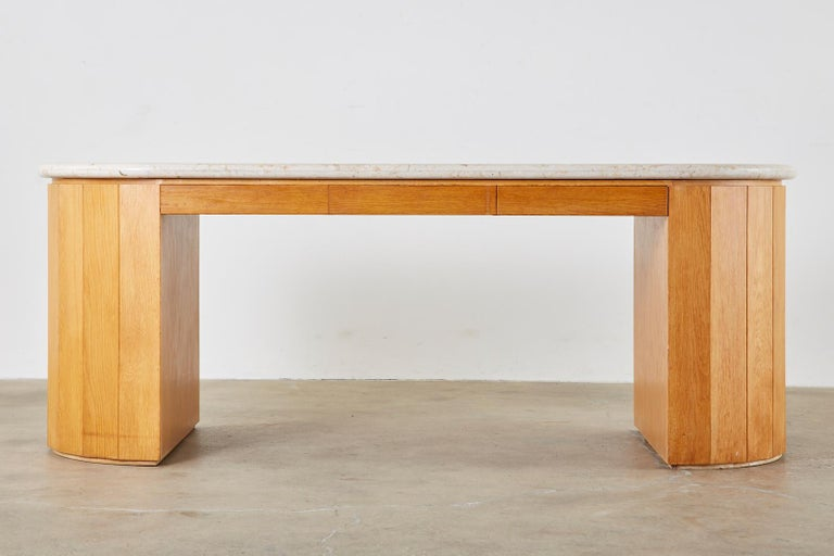 Marble-Top Oak Executive Pedestal Desk with Demilune Ends In Good Condition For Sale In Oakland, CA