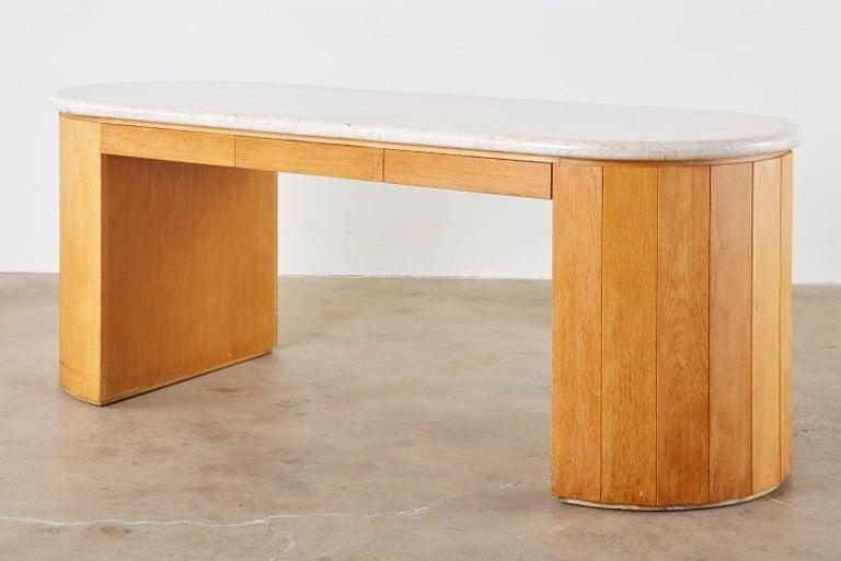 Marble-Top Oak Executive Pedestal Desk with Demilune Ends For Sale 1