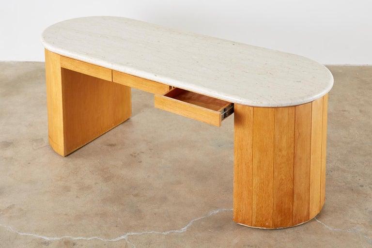 Marble-Top Oak Executive Pedestal Desk with Demilune Ends For Sale 2