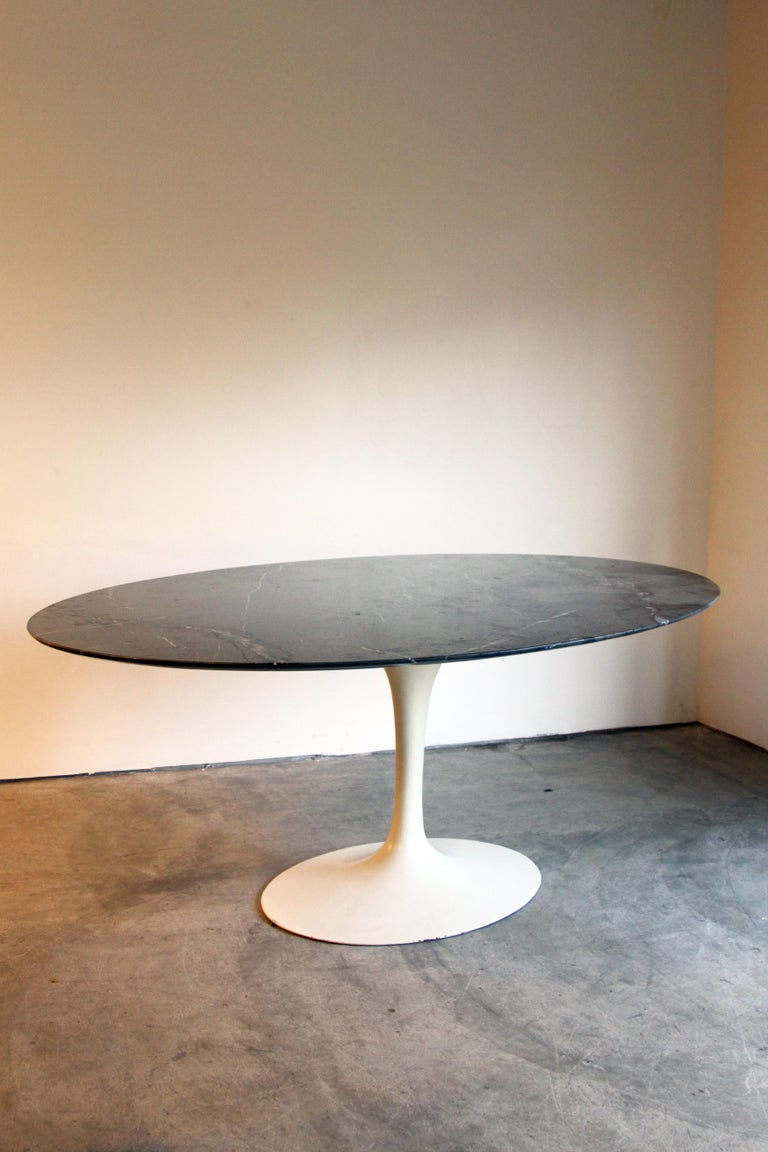Marble-Top Oval Saarinen for Knoll Dining Table For Sale 8