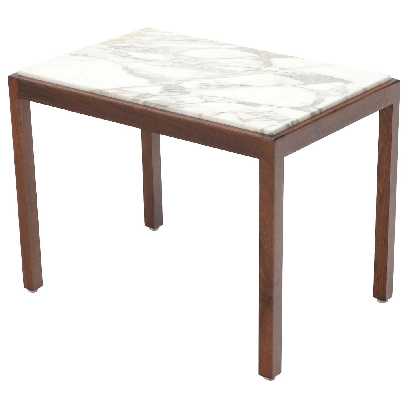 Marble Top Parsons Style Oiled Walnut Frame Side End Table