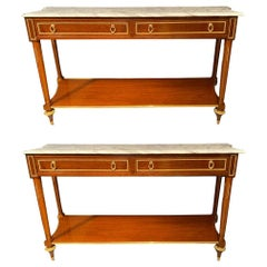 Marble Top Russian Neoclassical Consoles Concave Sides and Bronze Mounts a Pair