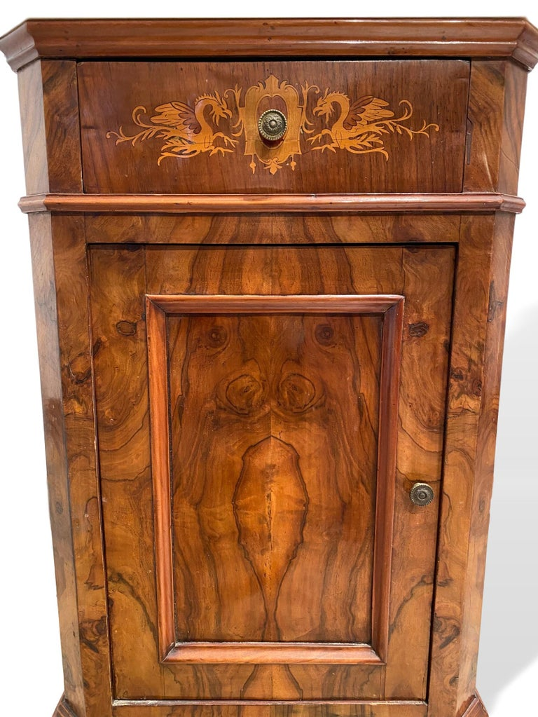 Side cabinet with marble top, highly figured burl walnut and satinwood marquetry inlays, Italian, circa 1880, with Carrara marble top with canted corners, over a stepped molding of solid walnut, over a single drawer with very fine satinwood