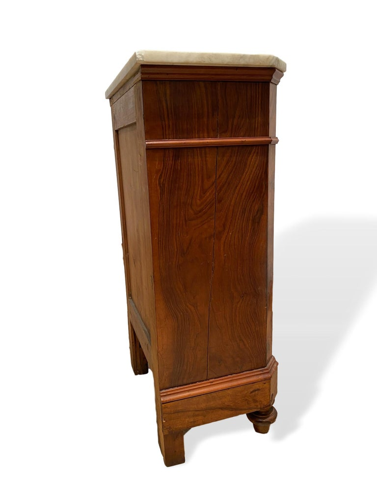 Marble-Top Side Cabinet, Figured Burl Walnut with Marquetry Inlay, Italian, 1880 In Good Condition For Sale In Banner Elk, NC
