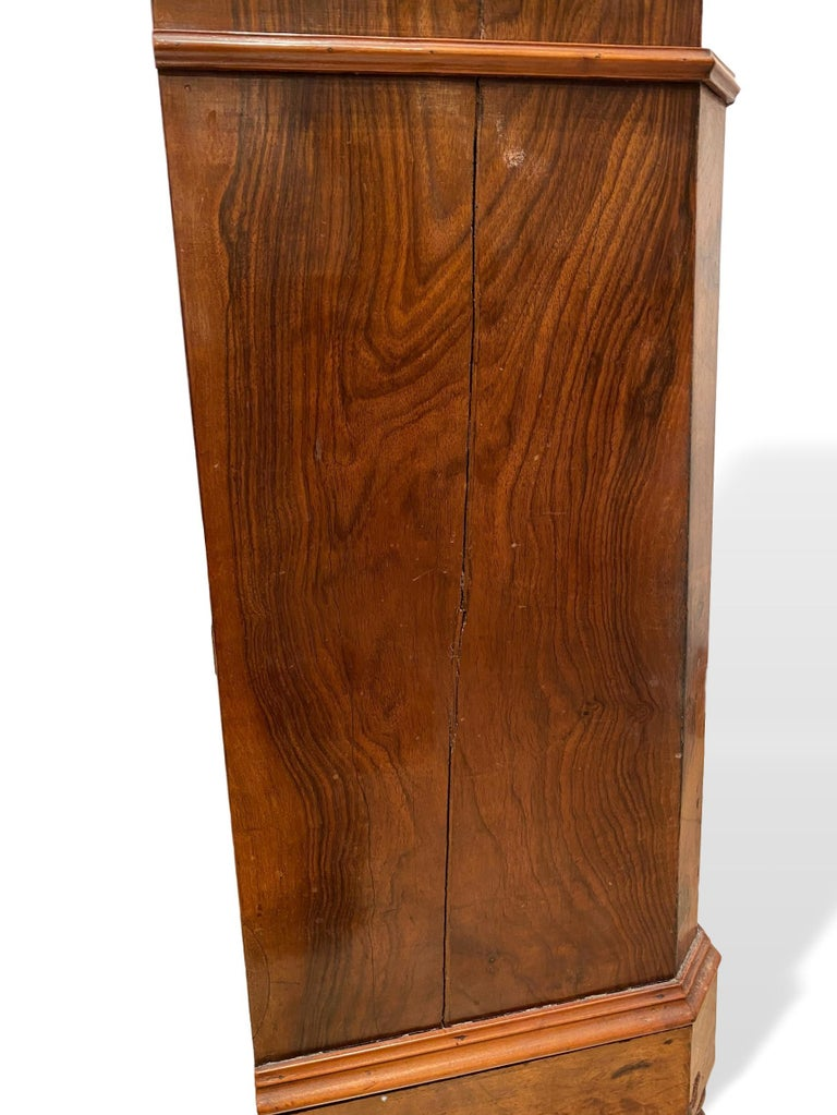 19th Century Marble-Top Side Cabinet, Figured Burl Walnut with Marquetry Inlay, Italian, 1880 For Sale