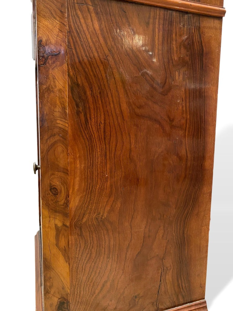 Marble-Top Side Cabinet, Figured Burl Walnut with Marquetry Inlay, Italian, 1880 For Sale 1