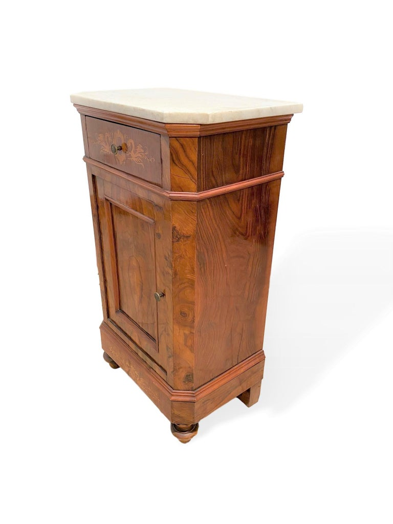 Marble-Top Side Cabinet, Figured Burl Walnut with Marquetry Inlay, Italian, 1880 For Sale 2