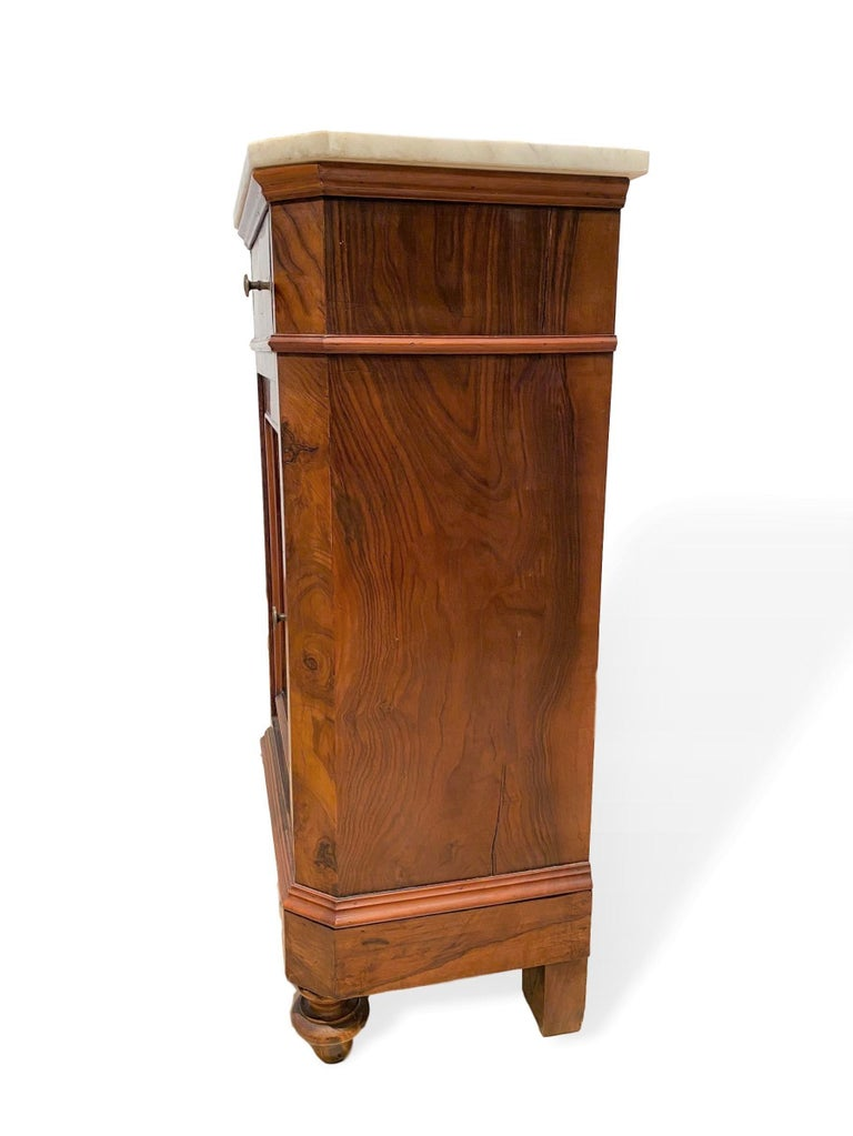 Marble-Top Side Cabinet, Figured Burl Walnut with Marquetry Inlay, Italian, 1880 For Sale 3