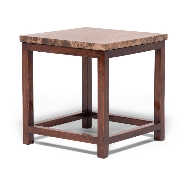 Chinese Marble-Top Square Table For Sale