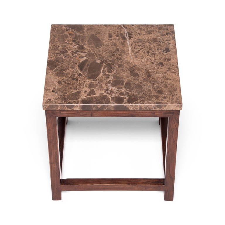 Marble-Top Square Table In Good Condition For Sale In Chicago, IL