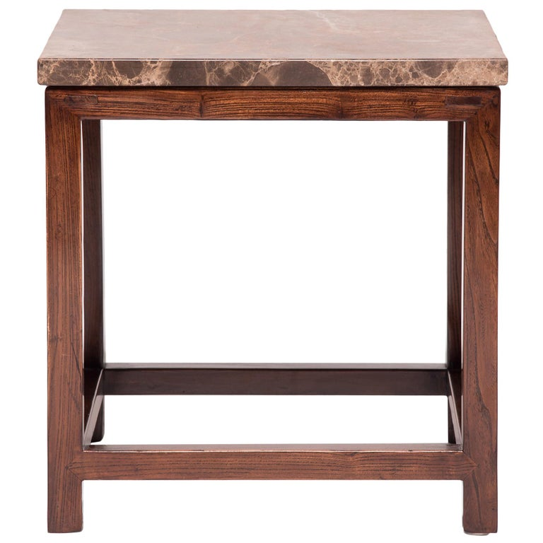 Marble-Top Square Table For Sale